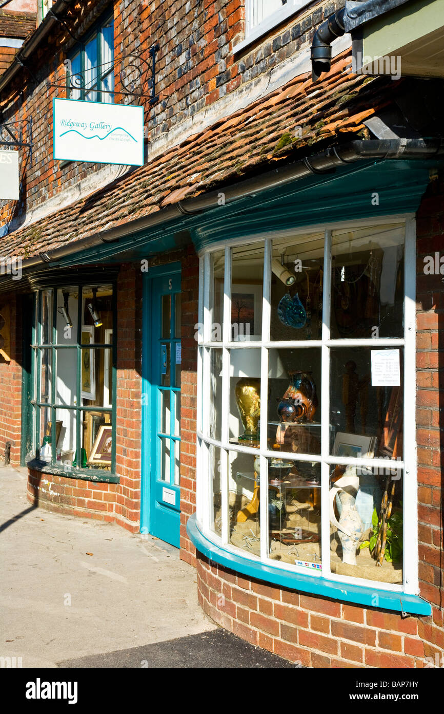 A quaint old bow fronted art and craft gallery shop in the typical English market town of Marlborough Wiltshire - Stock Image