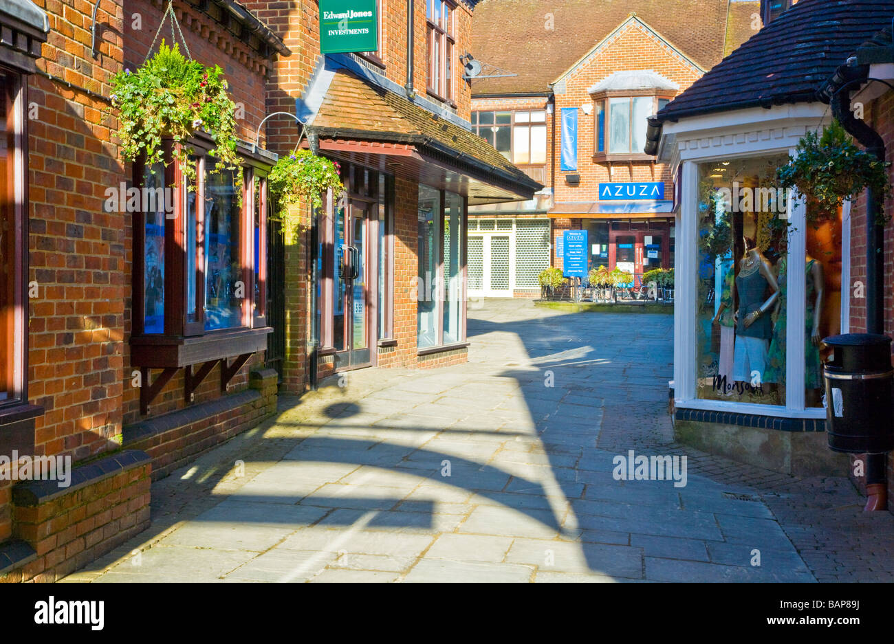 Hughenden Yard a pedestrianised area of upmarket boutiques shops and cafes in Marlborough Wiltshire England UK - Stock Image