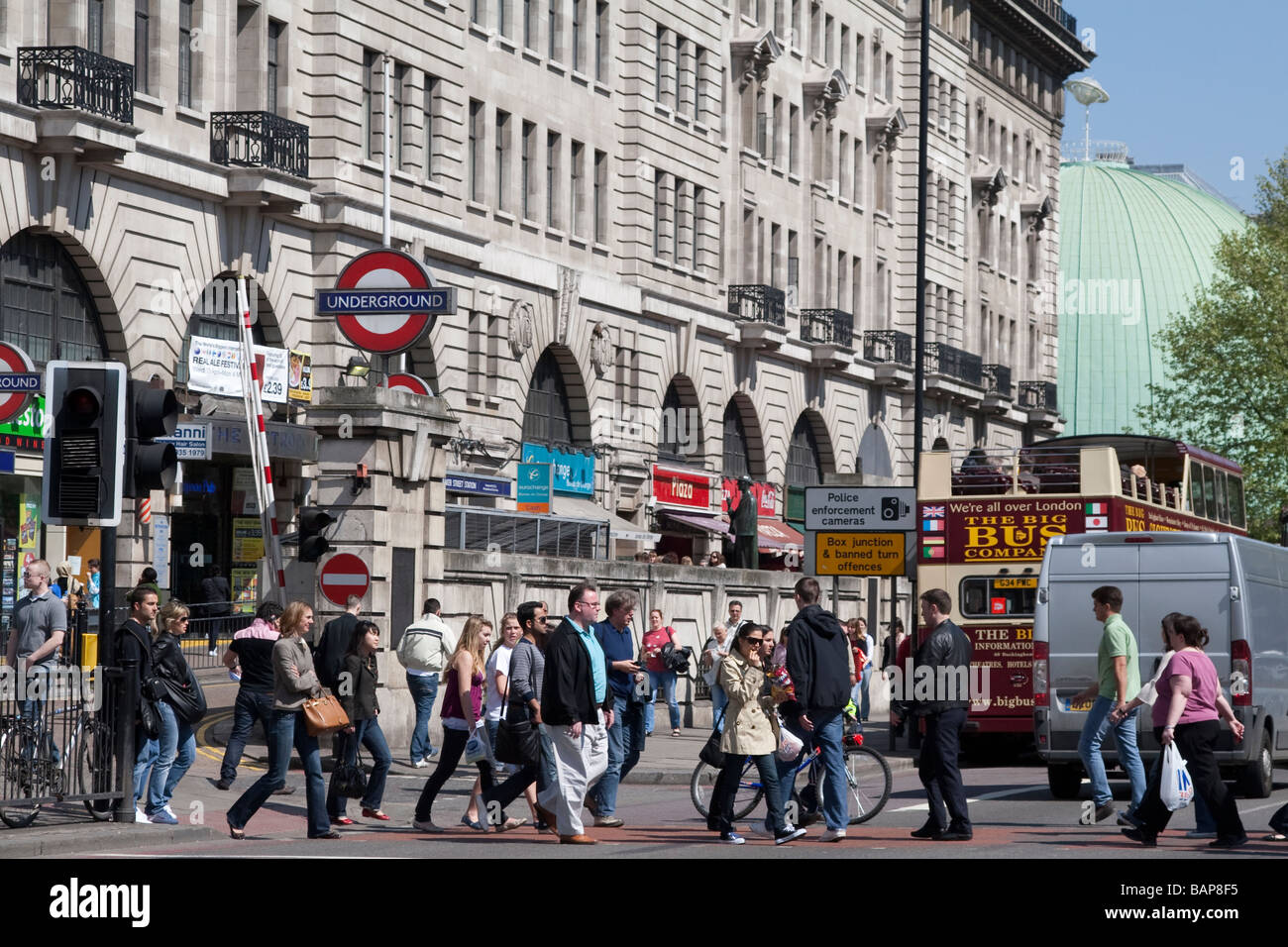 the busy street scene at Baker Street Station London with Madame Tussauds - Stock Image