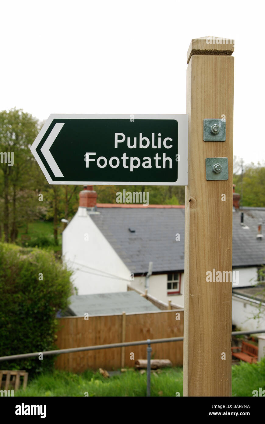 a public footpath sign in gloucester,uk - Stock Image