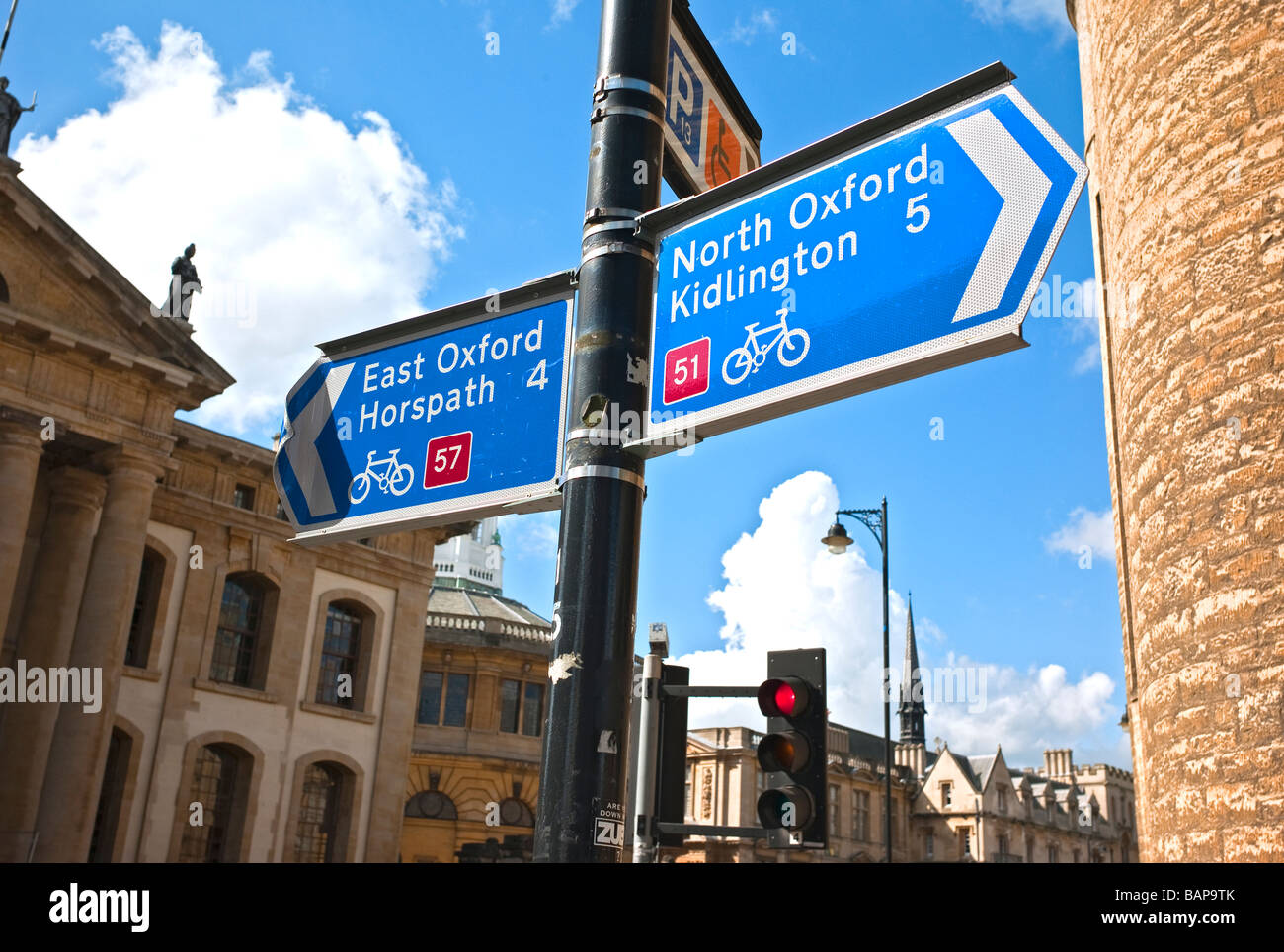 Cycle way signposts in Oxford city centre UK - Stock Image