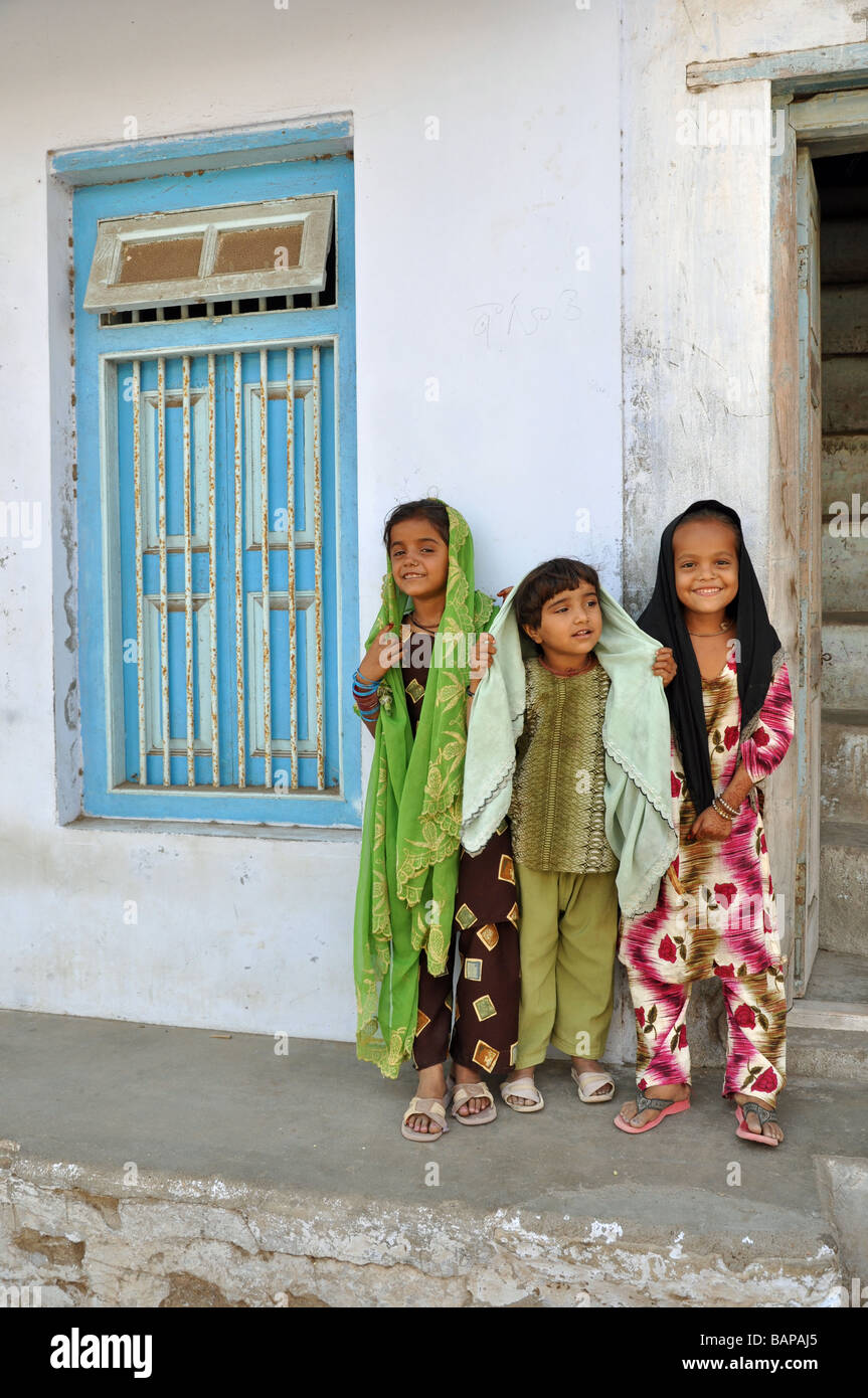 Three Children in Mandvi, Kutch, Gujarat - Stock Image