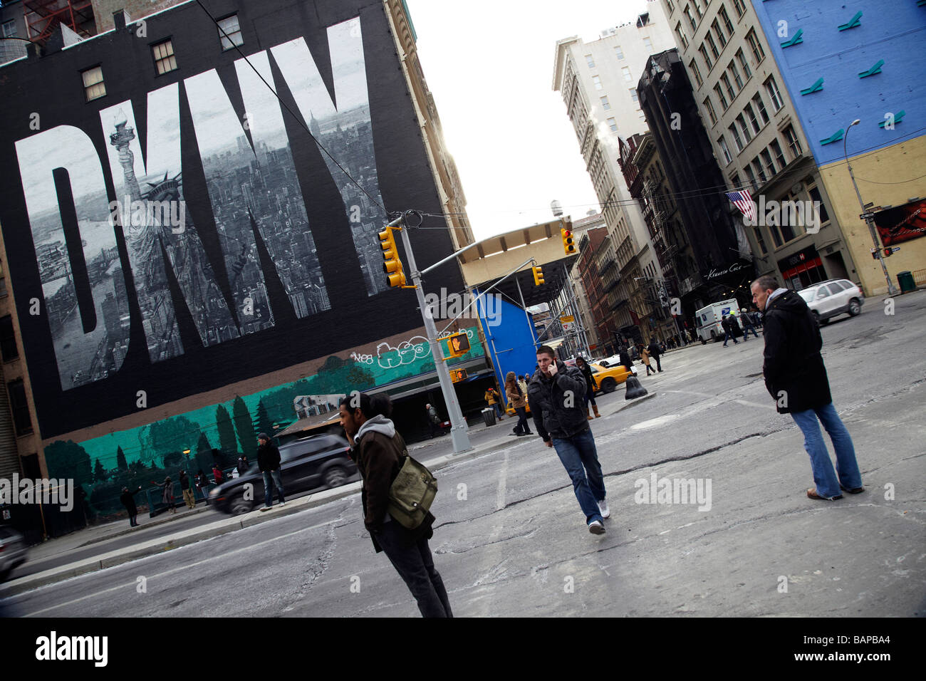 street scene, DKNY billboard, New York - Stock Image