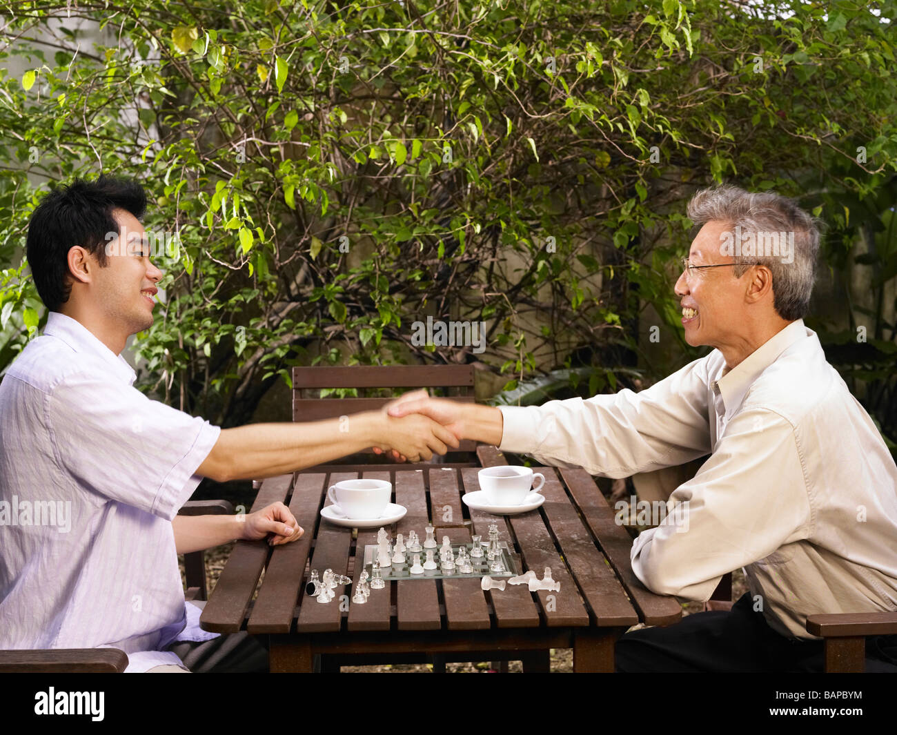 father and son just end the game - Stock Image