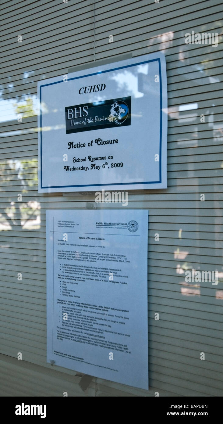 1,400 student Public High School in San Jose, CA. was closed after one student was believed to have the H1N1 virus - Stock Image