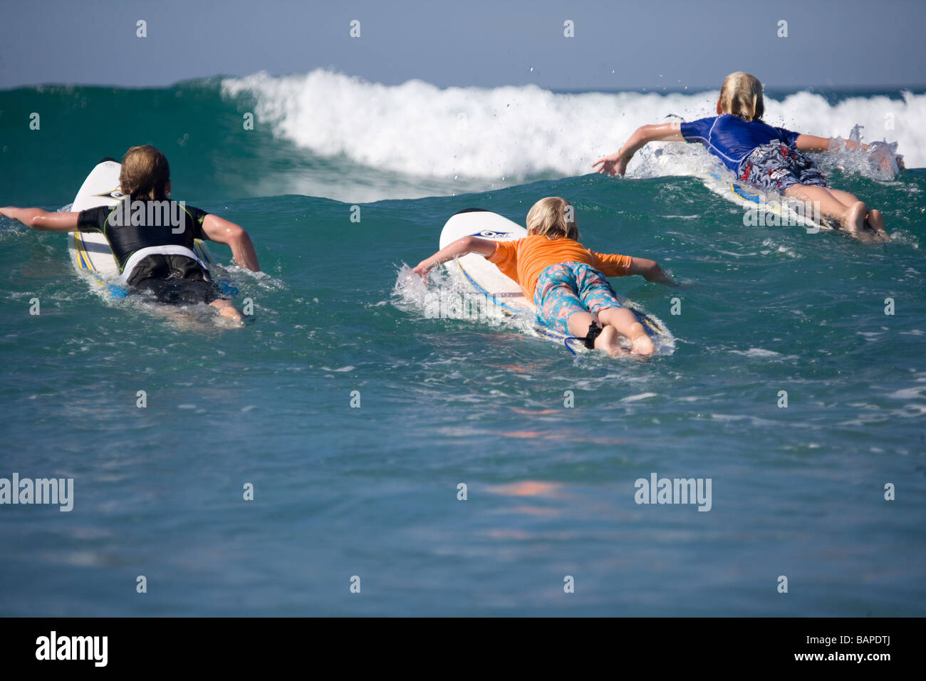 Surfing in Mt. Mauganui New Zealand - Stock Image