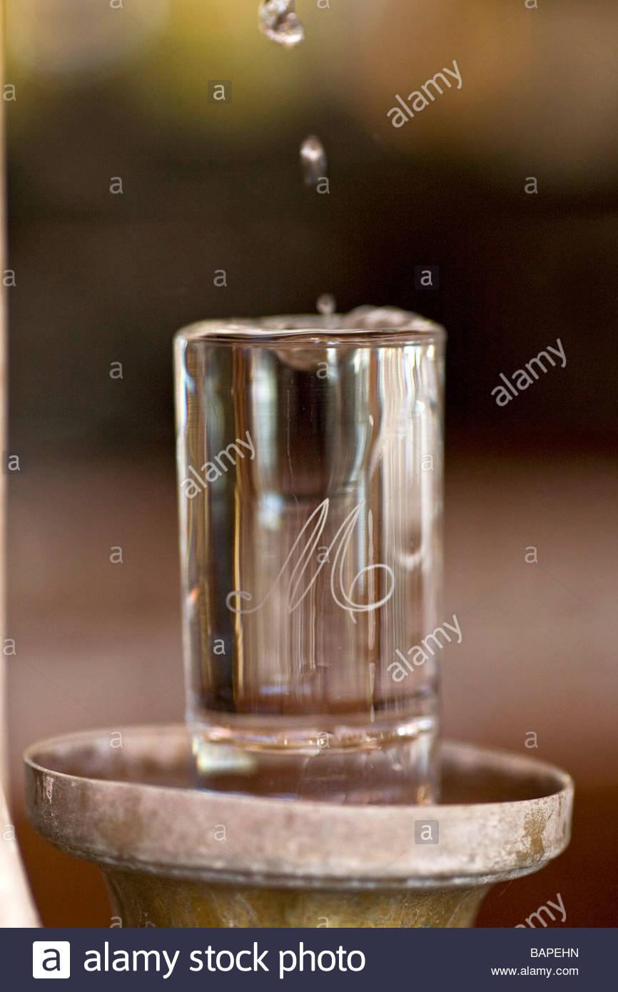 glass of water  caff mulassano  turin  italy - Stock Image