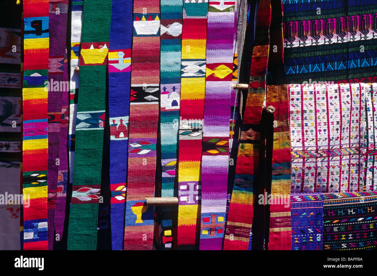 Hand loomed cotton BELTS in traditional pattern for sale in the MARKETPLACE SANTIAGO ATITLAN GUATEMALA - Stock Image