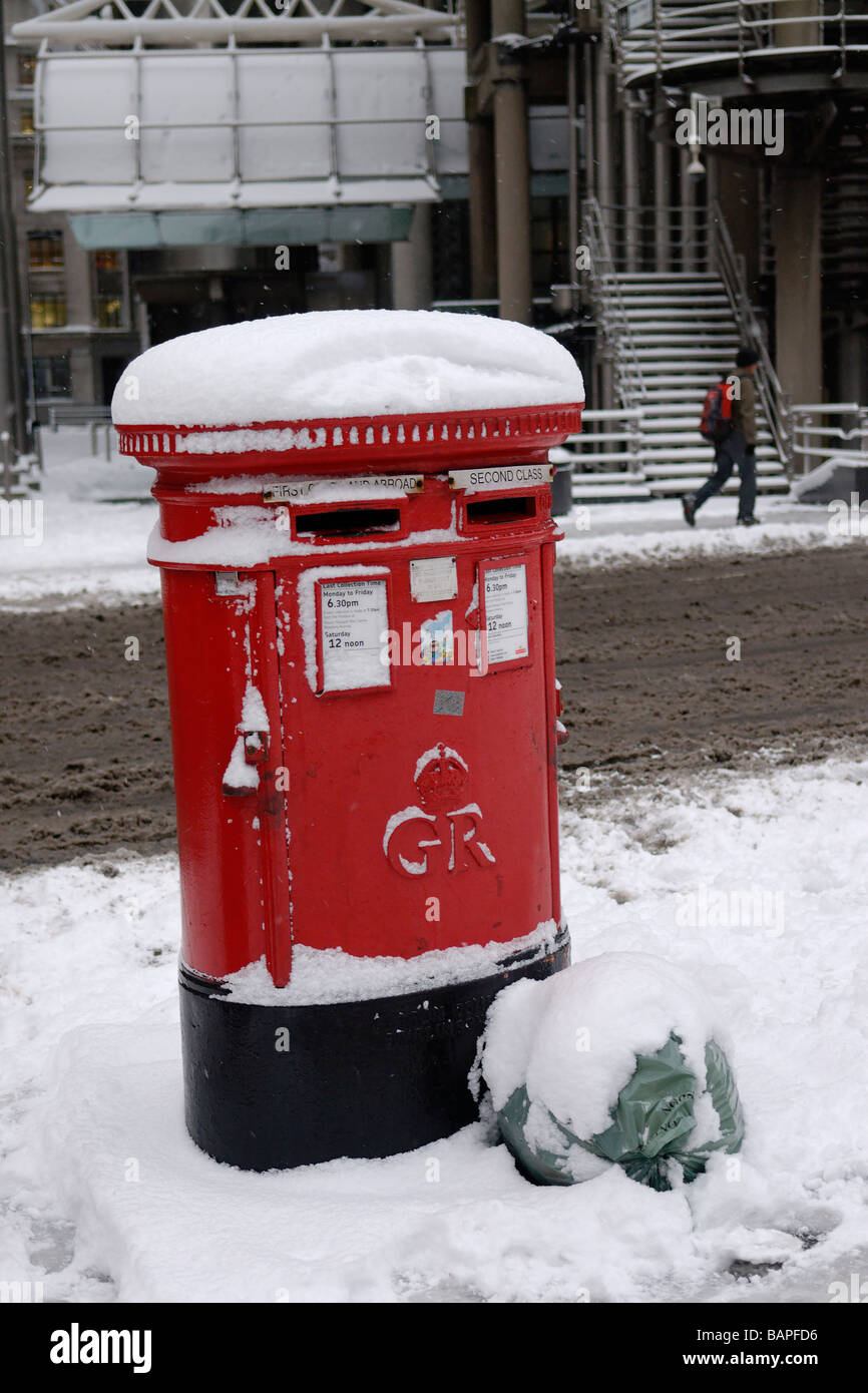 Snow Covered Post boxes outside the Lloyd's of London building City London England Britain 2 Feb 2009 - Stock Image