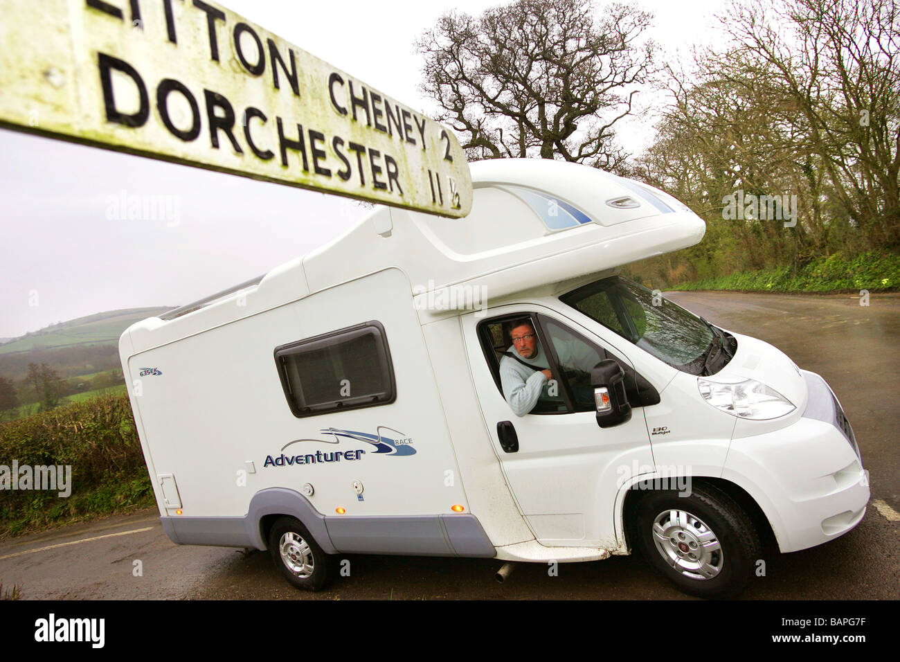 Motorhome in country lane. - Stock Image