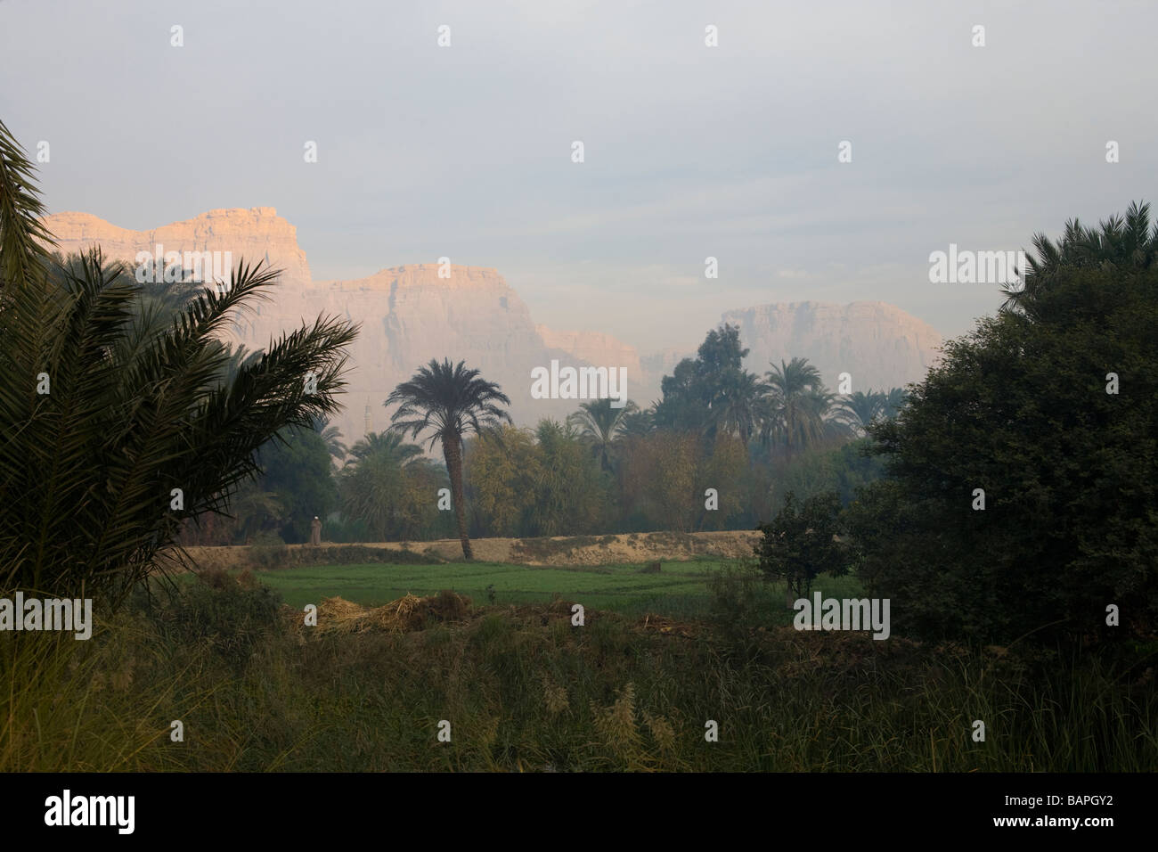 View of the Hills at Nag Hammadi, Nile Valley, Egypt - Stock Image