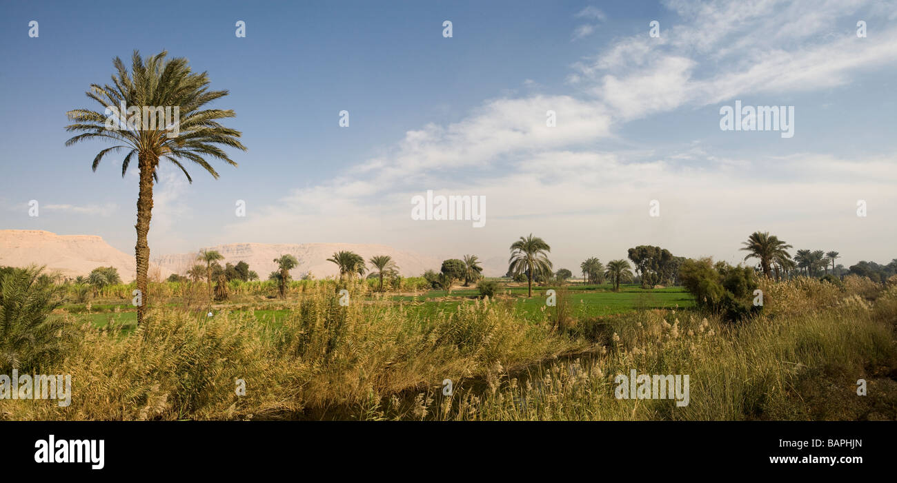 Panorama of the Hills at Nag Hammadi, Nile Valley, Egypt - Stock Image