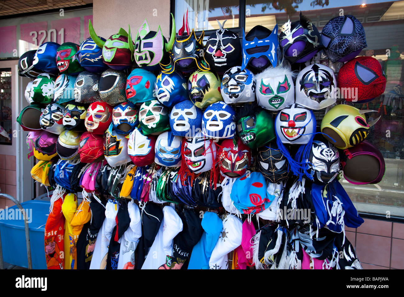 Lucha Libre Mexican masks on display, Mission District,  San Francisco, California, USA - Stock Image