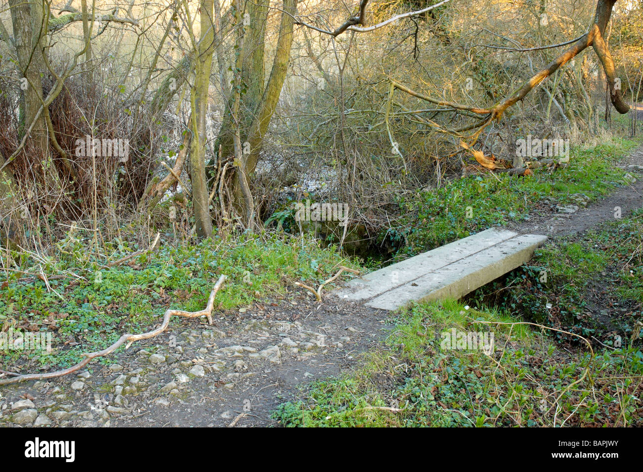 An old wooden bridge over a stream - Stock Image
