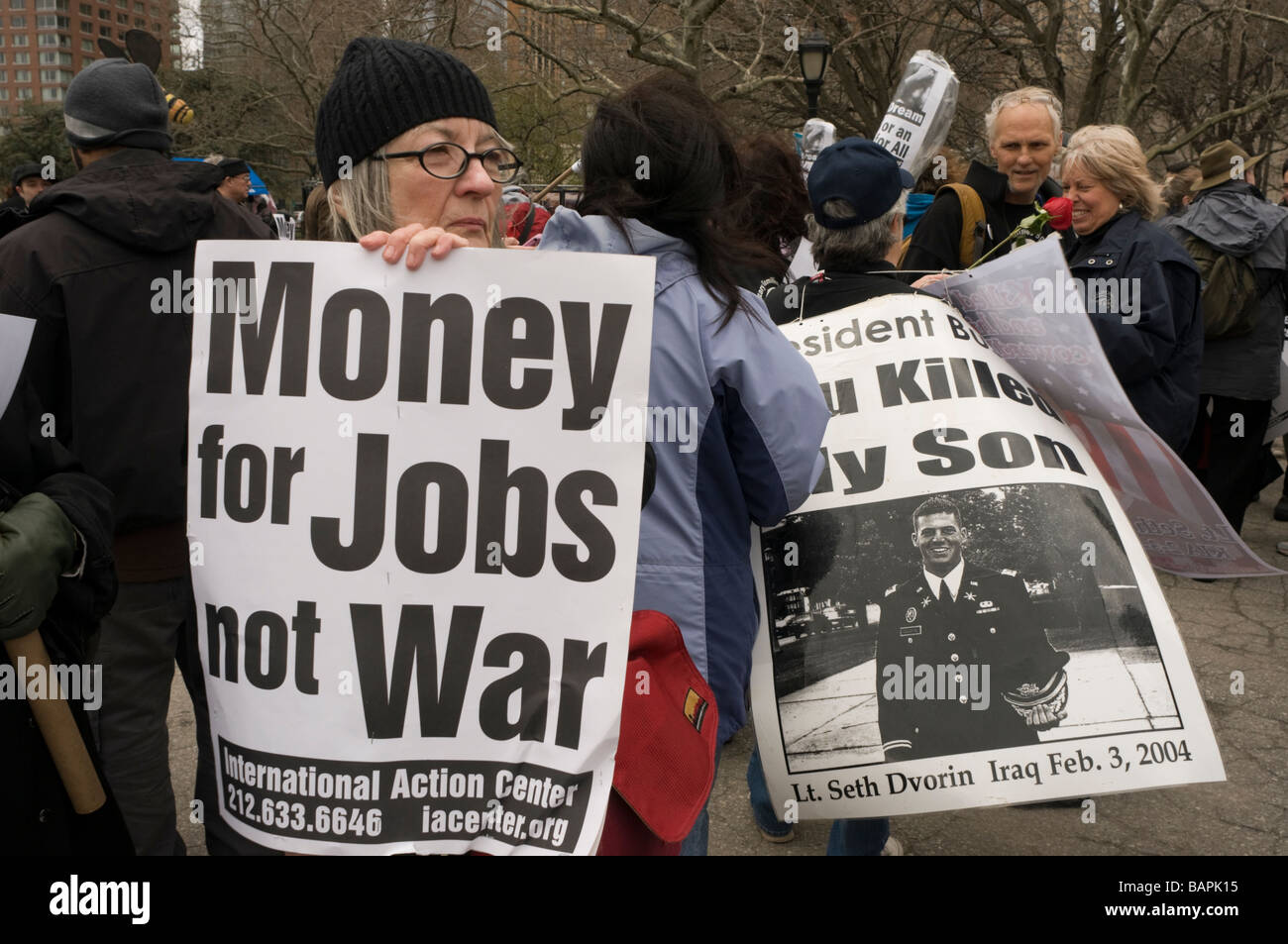 Protestors call on the Obama Administration to direct money for jobs instead of continuing two wars. - Stock Image