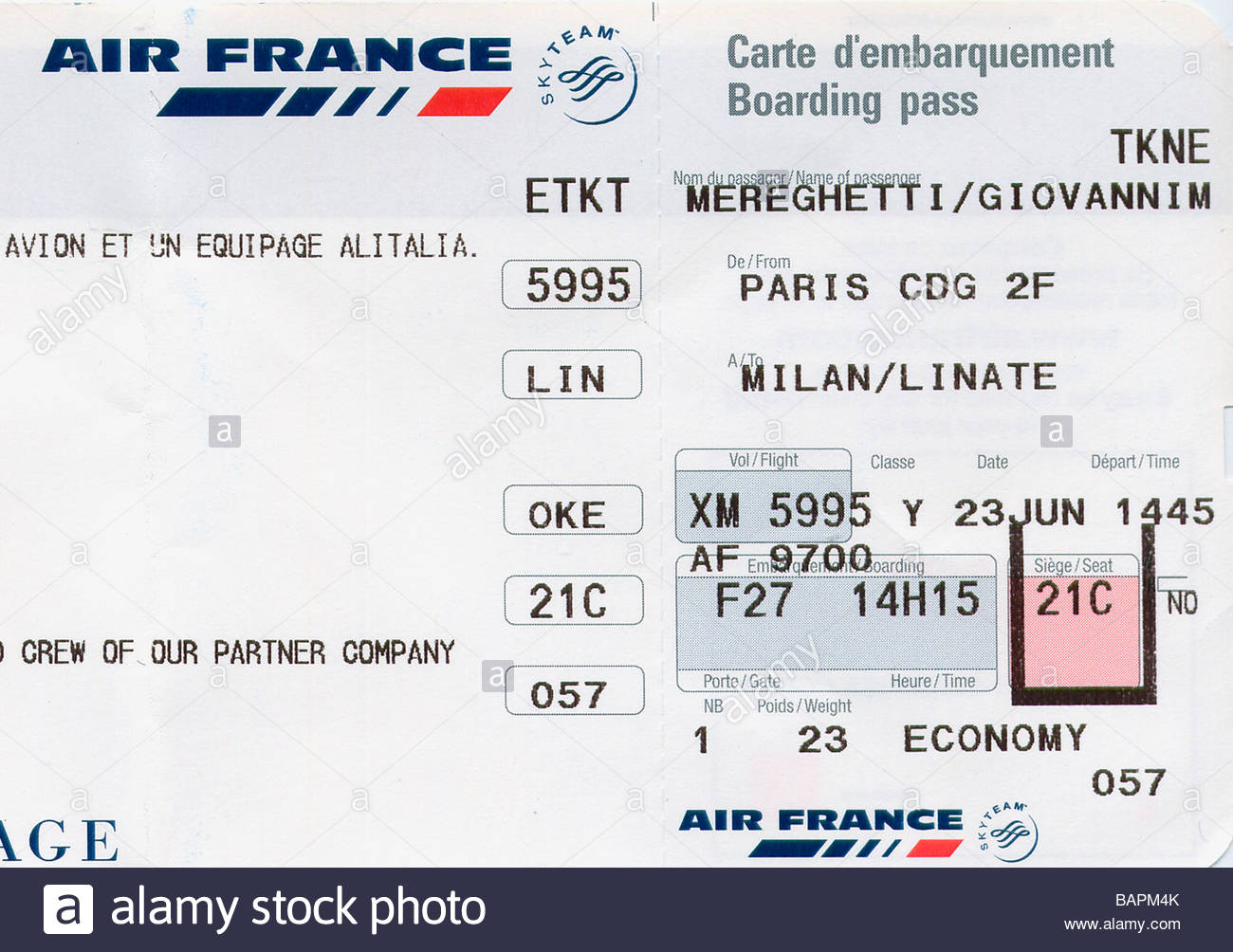 boarding pass fly from paris to milan air france stock photo 23855683 alamy. Black Bedroom Furniture Sets. Home Design Ideas