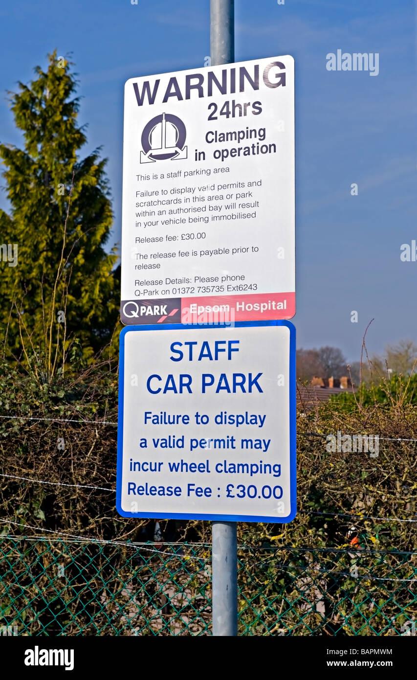 Parking Signs at Epsom General Hospital, Epsom, England. - Stock Image