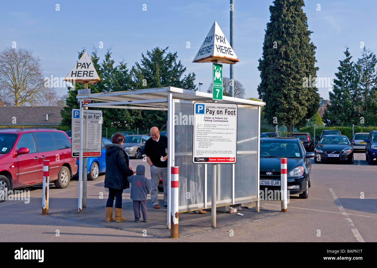 Pay Point at Epsom General Hospital Public Car Park. - Stock Image