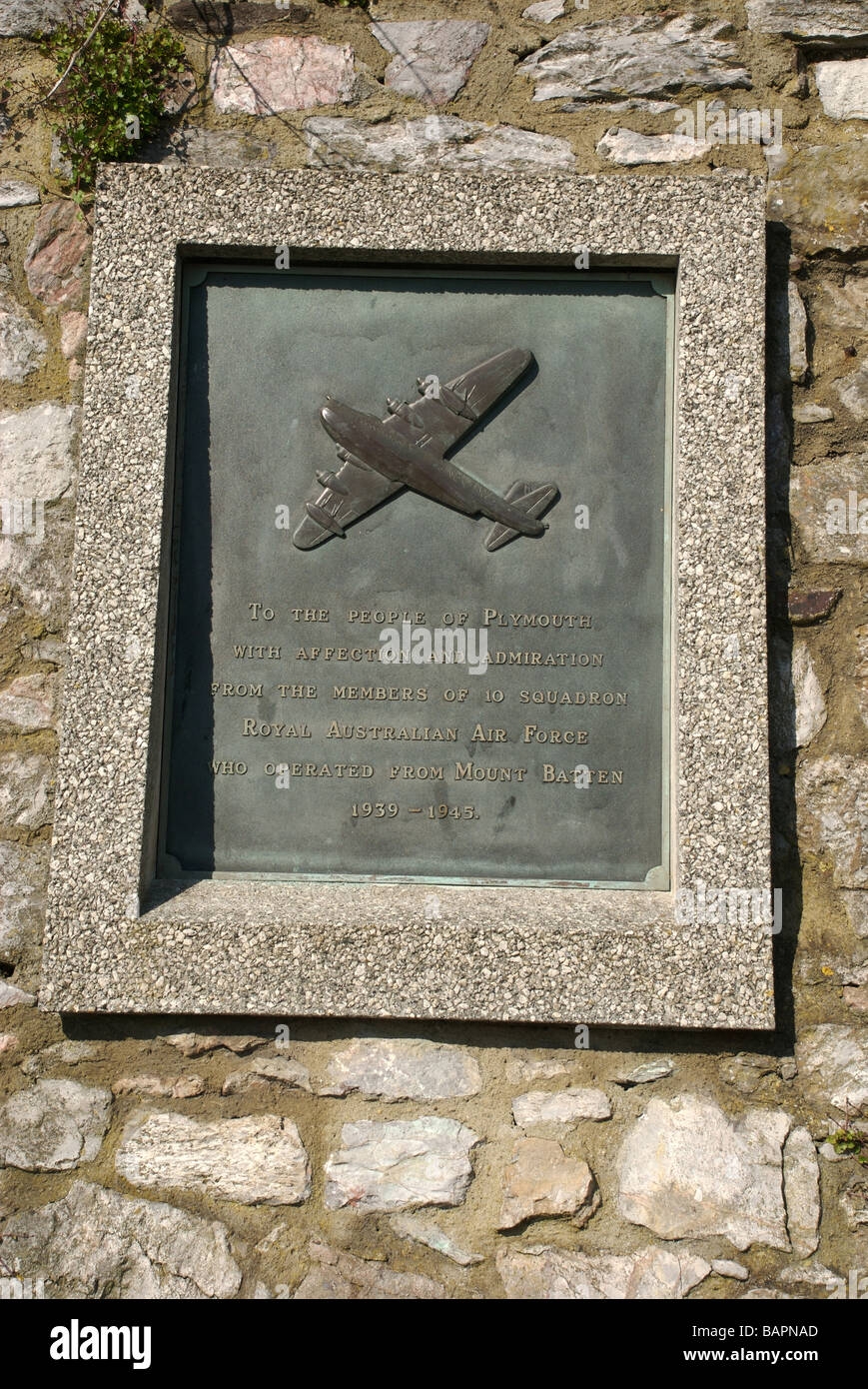 Plaque of gratitude to the people of Plymouth from the Royal Australian Air Force, Plymouth, Devon, UK - Stock Image