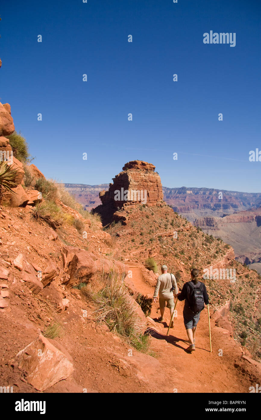 Two hikers in the Grand Canyon - Stock Image