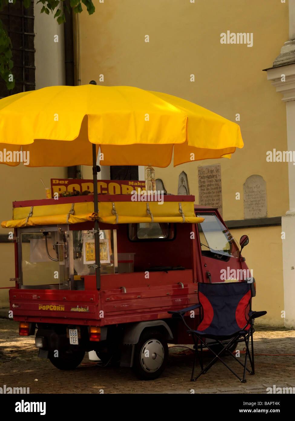 Red Ape Motor Vehicle Popcorn Stall Prien Bavaria Germany - Stock Image
