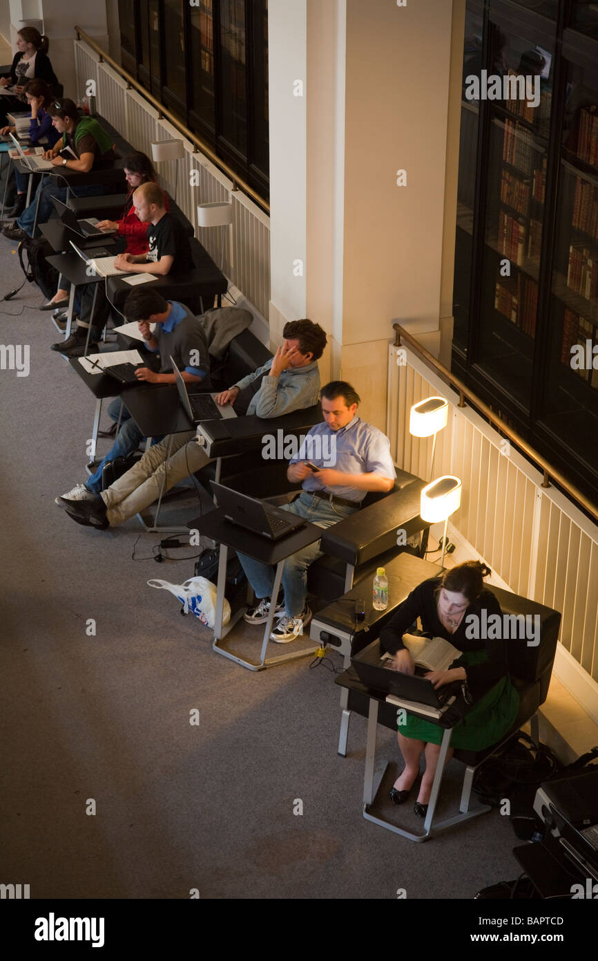 scholars on computers, British Library, St Pancras, London, England - Stock Image
