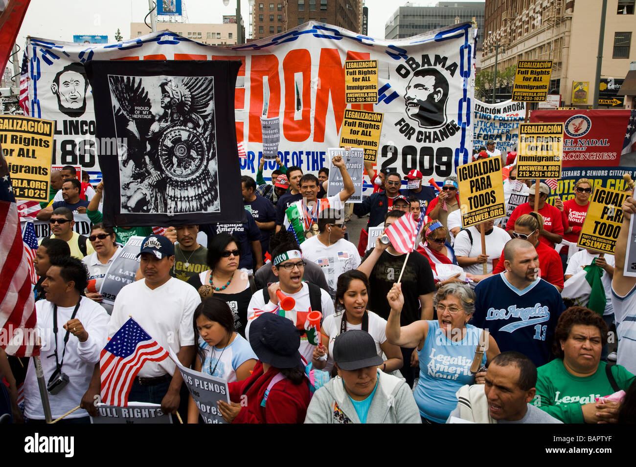 May Day Protest May 1 2009 at Olympic Blvd and Broadway Los Angeles California United States of America - Stock Image