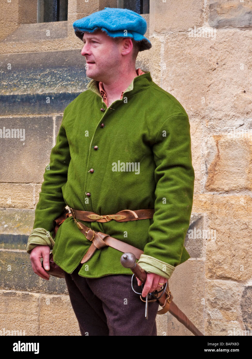Actor from the 'Best of Times, Worst of Times' re enactment group helping the re-create the Hexham Gaol - Stock Image