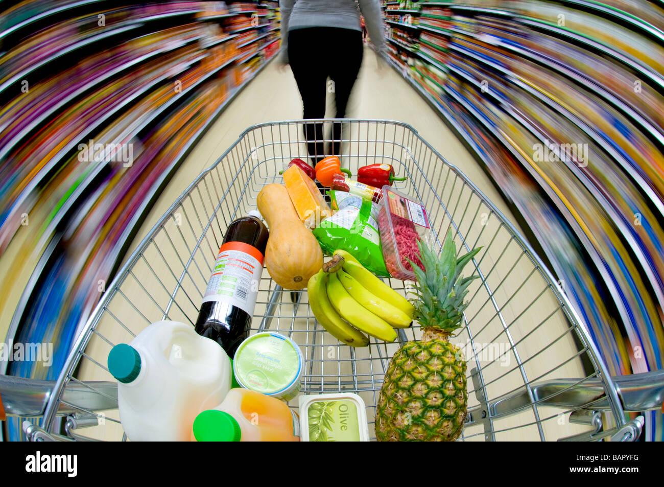 Supermarket Shopping, UK - Stock Image