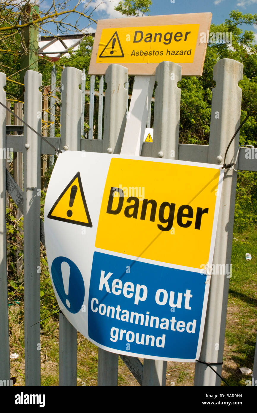 Asbestos hazard warning sign Kent UK - Stock Image