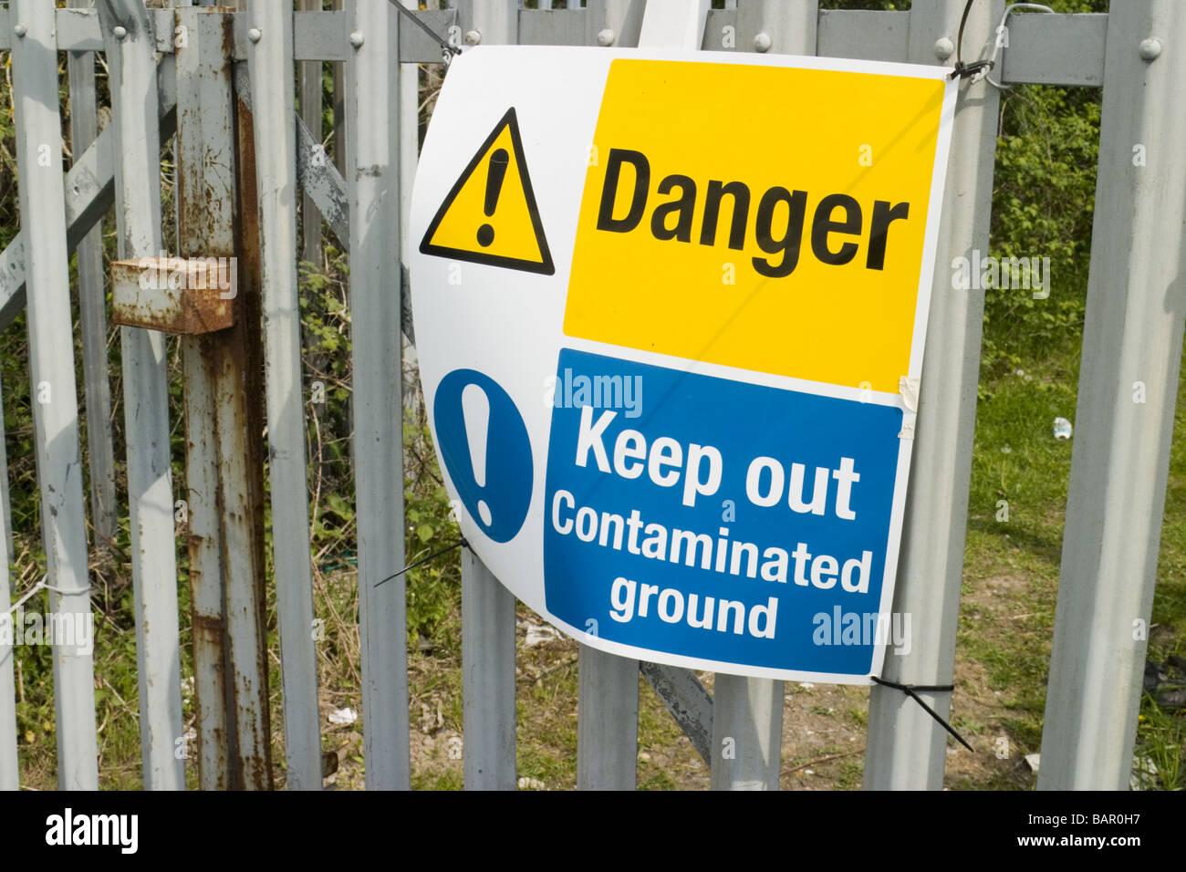Contaminated ground warning sign Kent UK - Stock Image