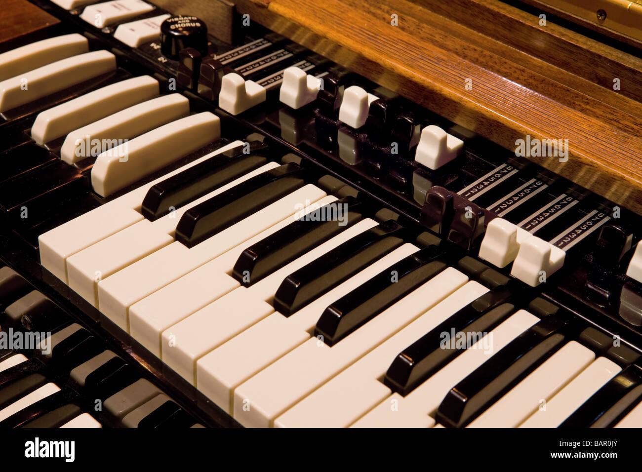 Closeup image of Hammond B3 Organ Keyboard with Drawbars Stock Photo