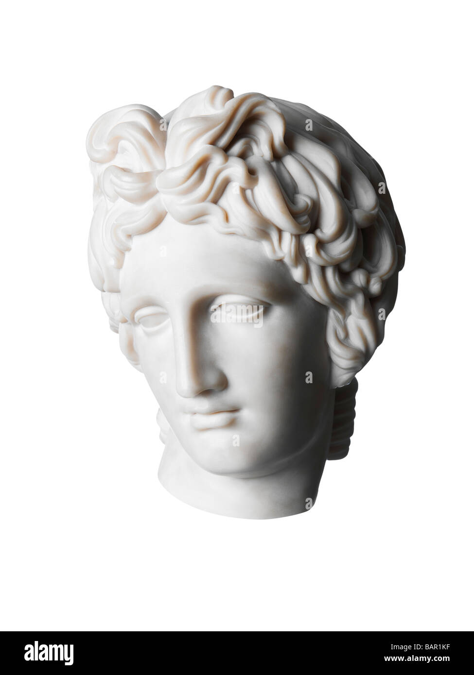Roman womans head classical marble sculpture - Stock Image