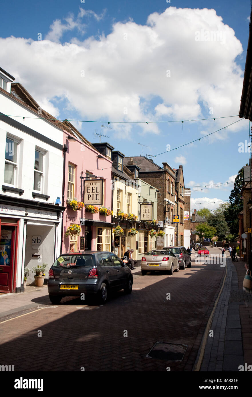 the pedestrianised Church Street of Twickenham London and The Eel Pie pub - Stock Image