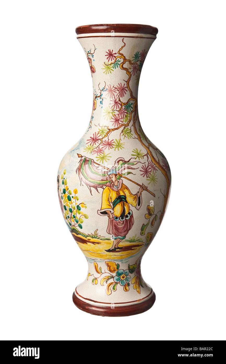 Japanese painted ceramic Vase - Stock Image