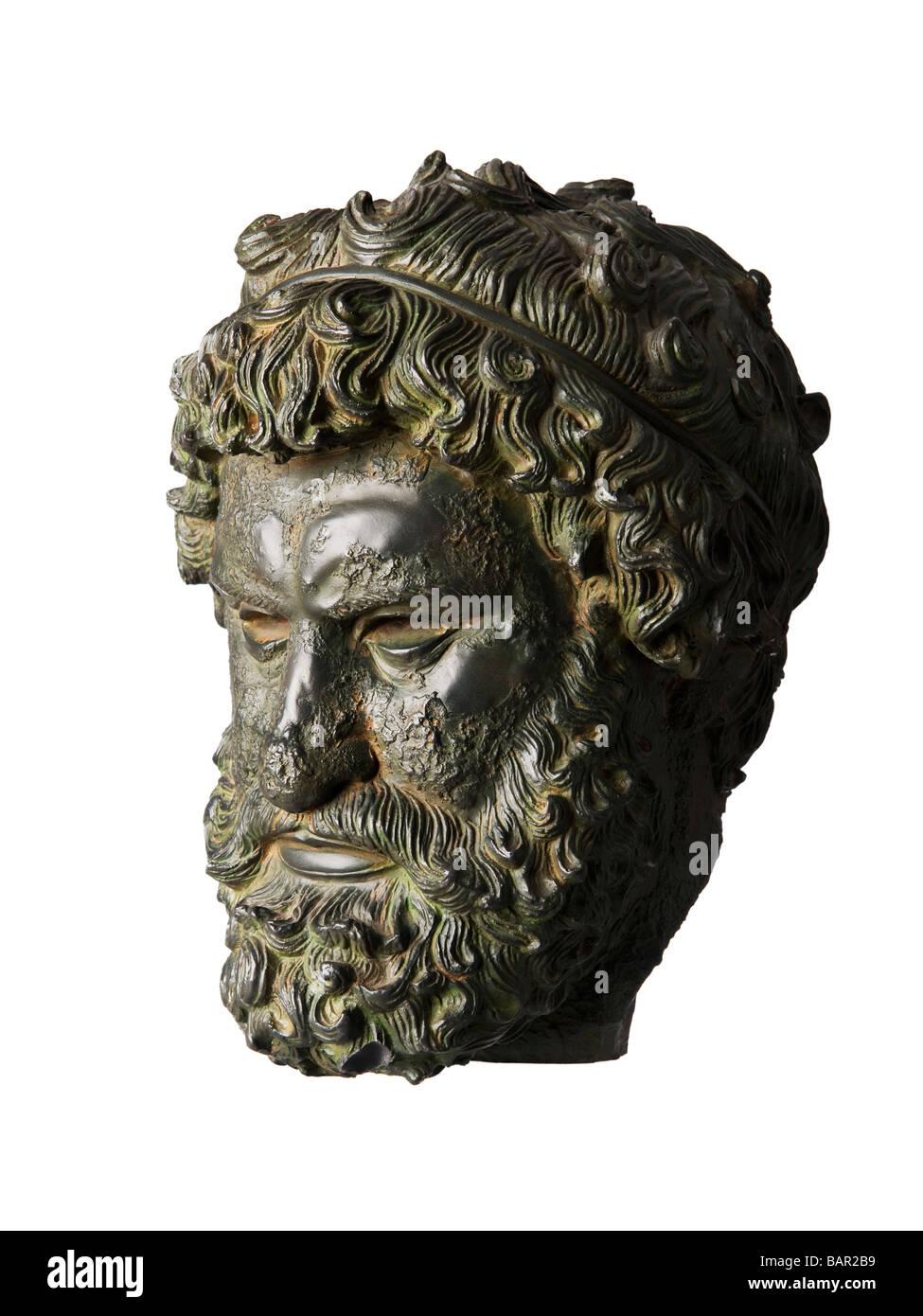 Greek bronze sculpture bearded man head - Stock Image