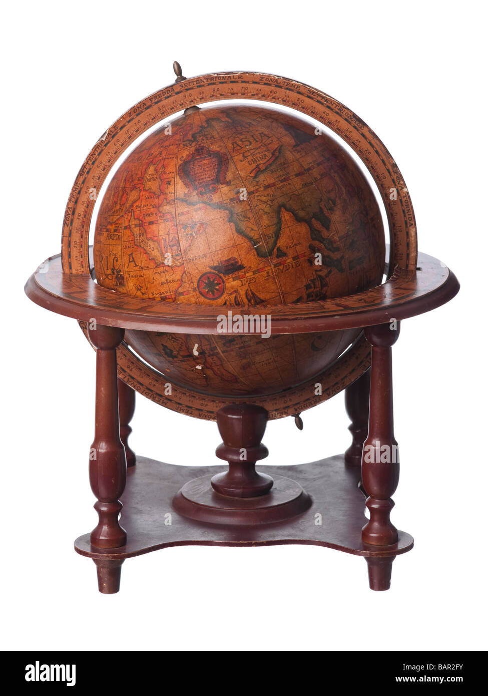 Vintage old earth globe showing Asia - Stock Image