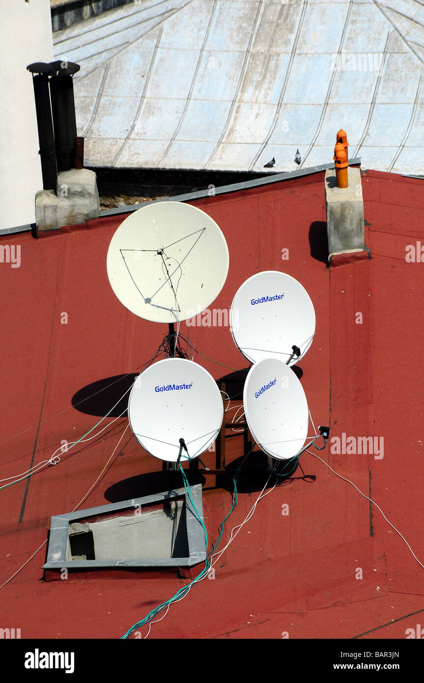 Satellite dishes on rooves, Istanbul, Turkey - Stock Image