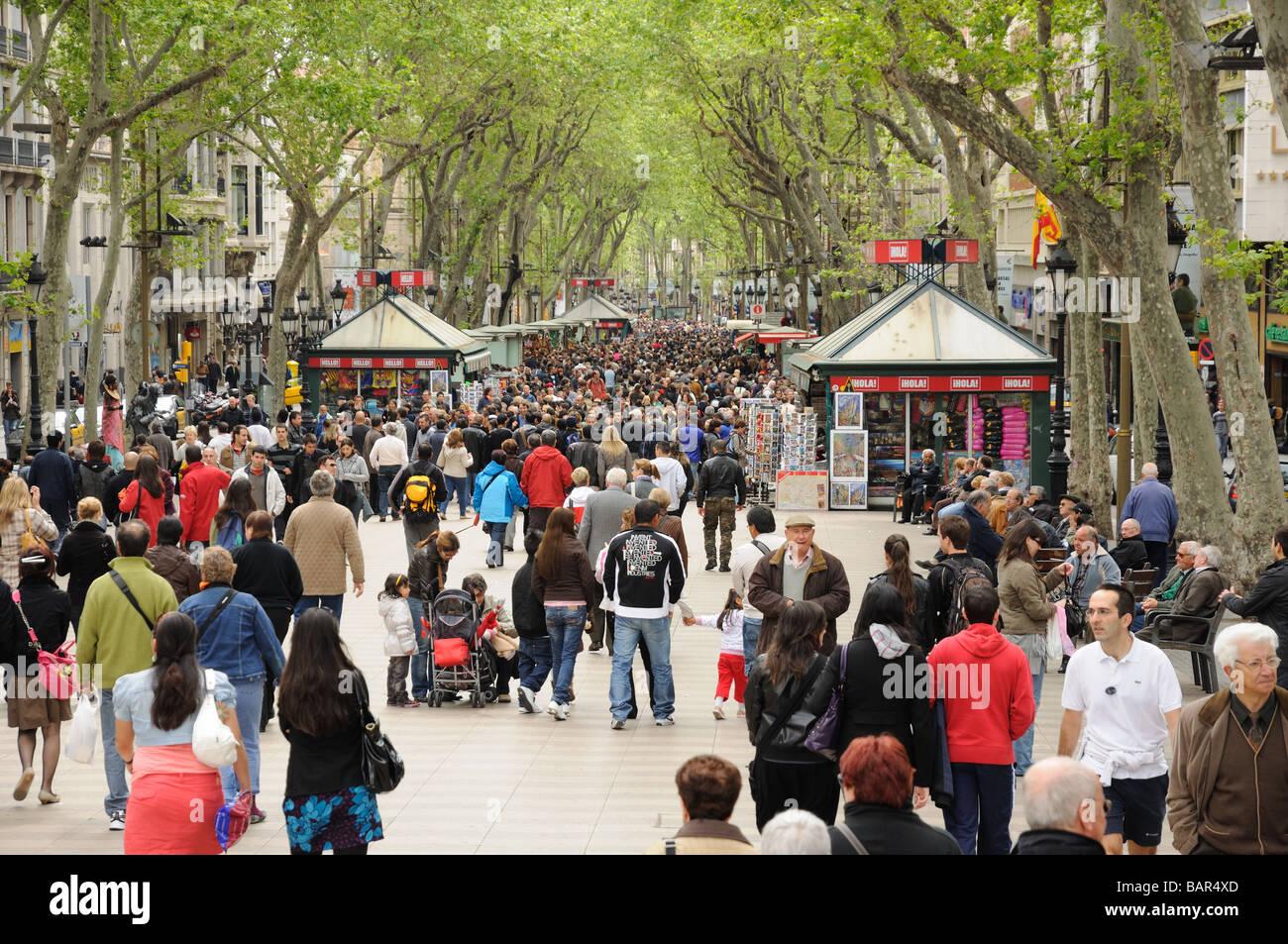 La Rambla in Barcelona Spain - Stock Image