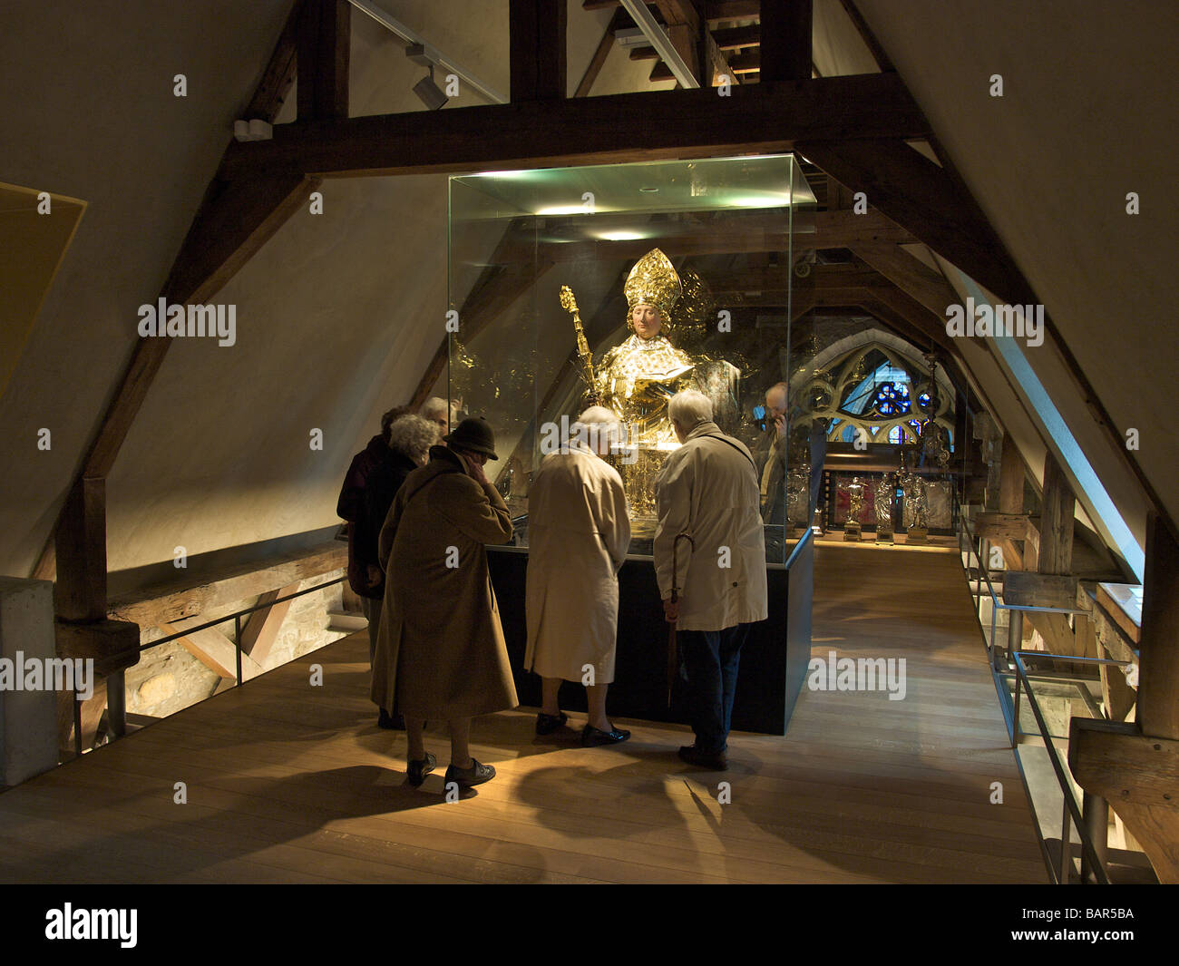 Treasury museum with religious artefacts of the Liege Cathedral Belgium - Stock Image