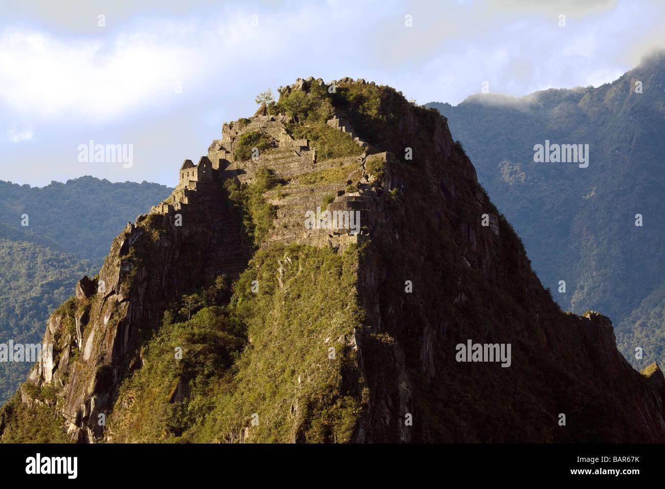 Huayna Picchu stands guard over Machu Picchu Peru - Stock Image