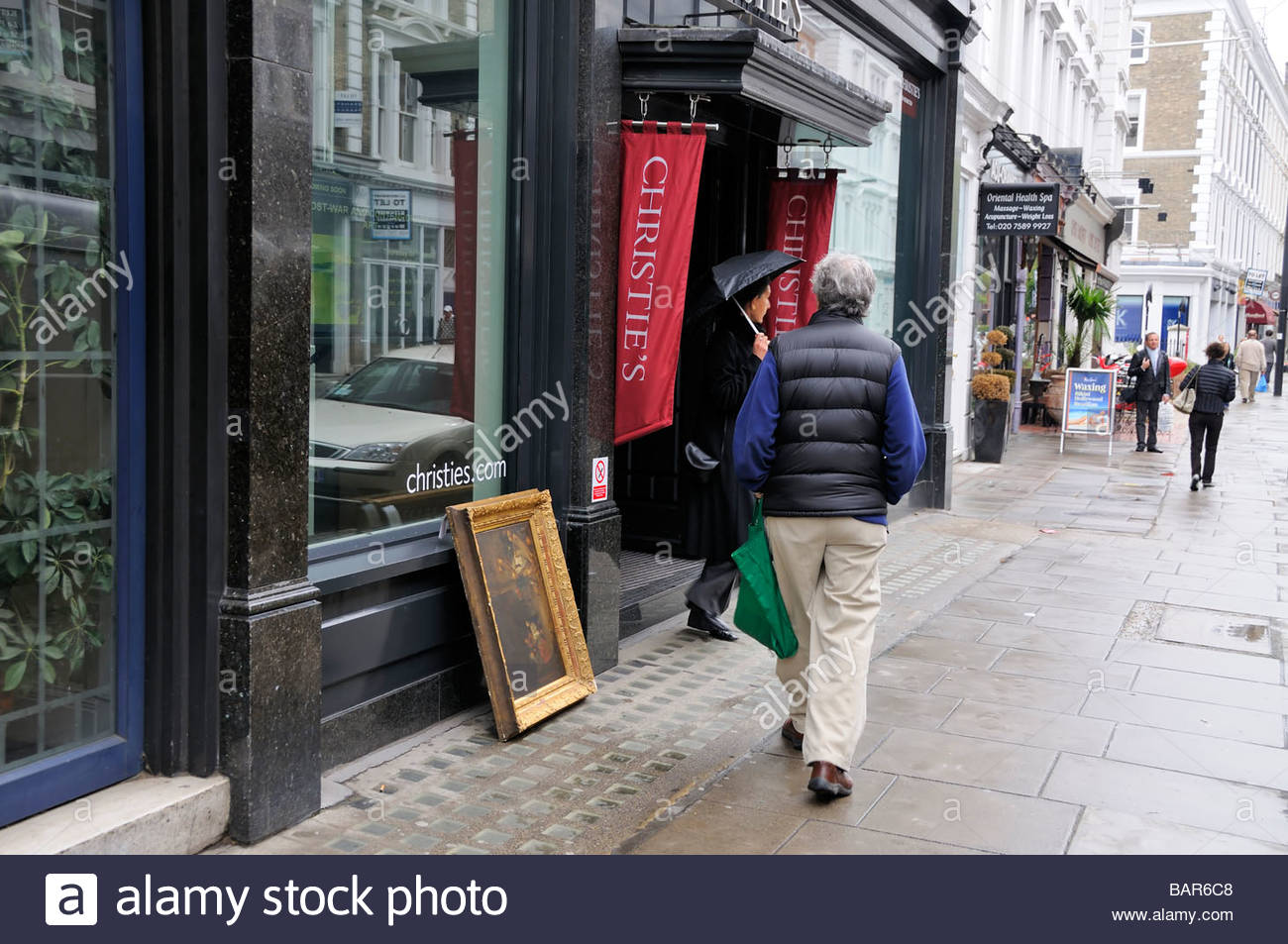London, UK, entrance of Christie's - Stock Image