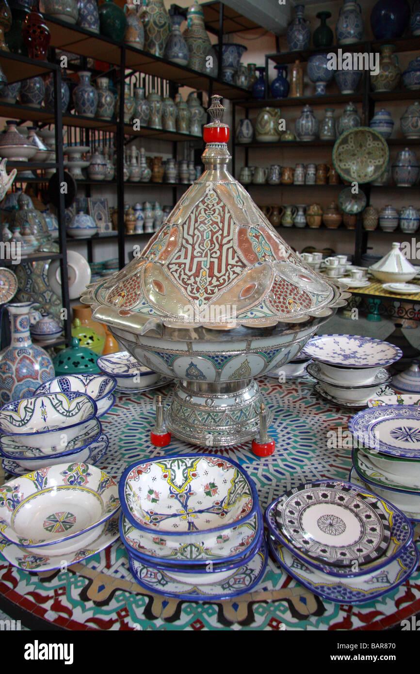 Decorative Moroccan pottery including tagines u0026 plates for sale in u0027Art Najiu0027u0027 ceramics factory shop Fes el-bali Fes Morocco & Decorative Moroccan pottery including tagines u0026 plates for sale in ...