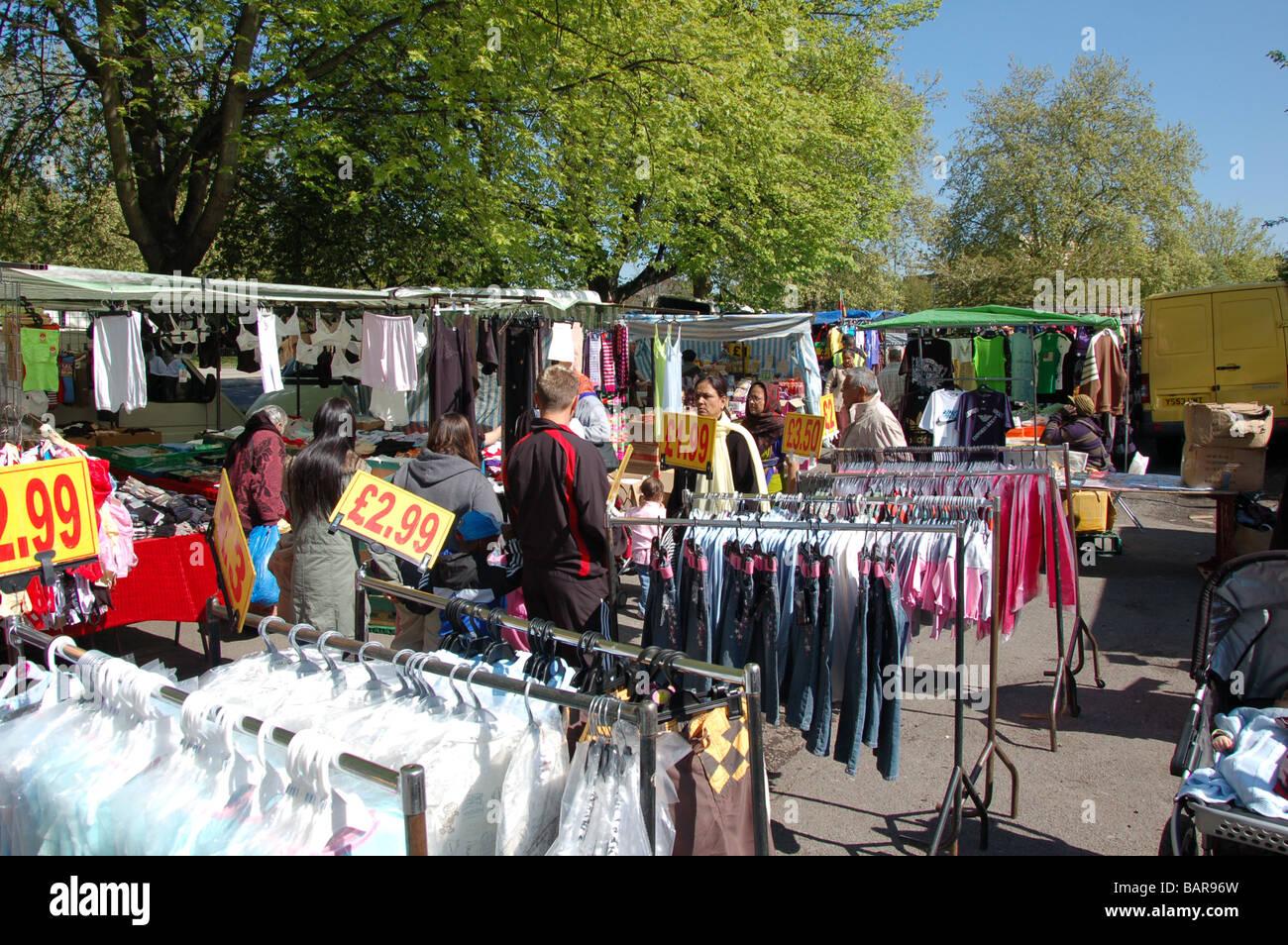 Wednesday's Church road market in Willesden, London, England, Uk - Stock Image