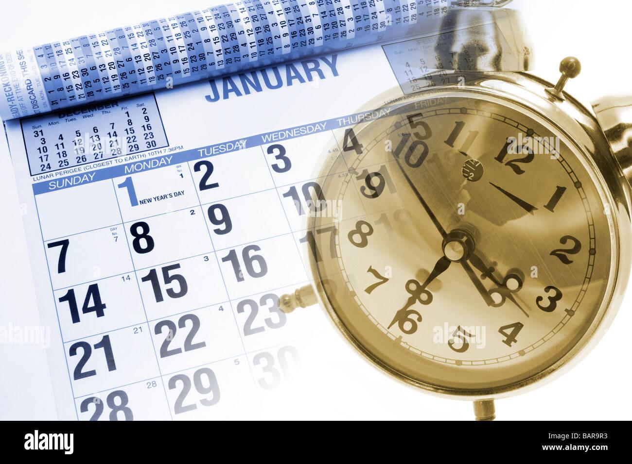 Calendar and Alarm Clock - Stock Image