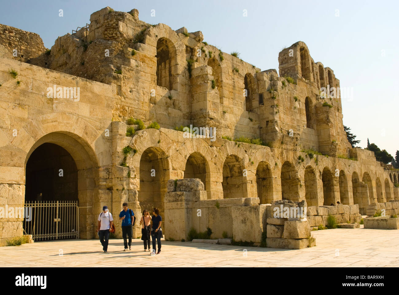 Odeon of Herodes Atticus at South Slope of Acropolis in Athens Greece Europe - Stock Image