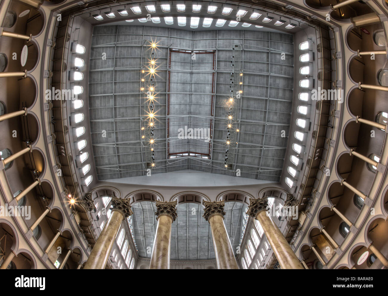 This is an HDR image of the ceiling of the National Building Museum in Washington, DC, a museum of architecture and design. Stock Photo