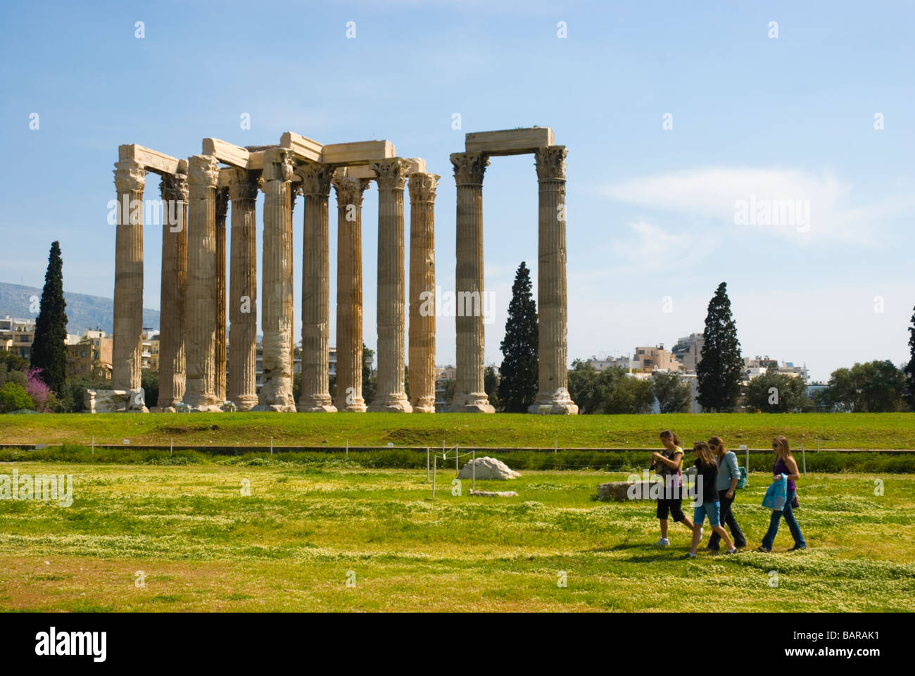 Ruins of Temple of Olympian Zeus site in central Athens Greece Europe - Stock Image
