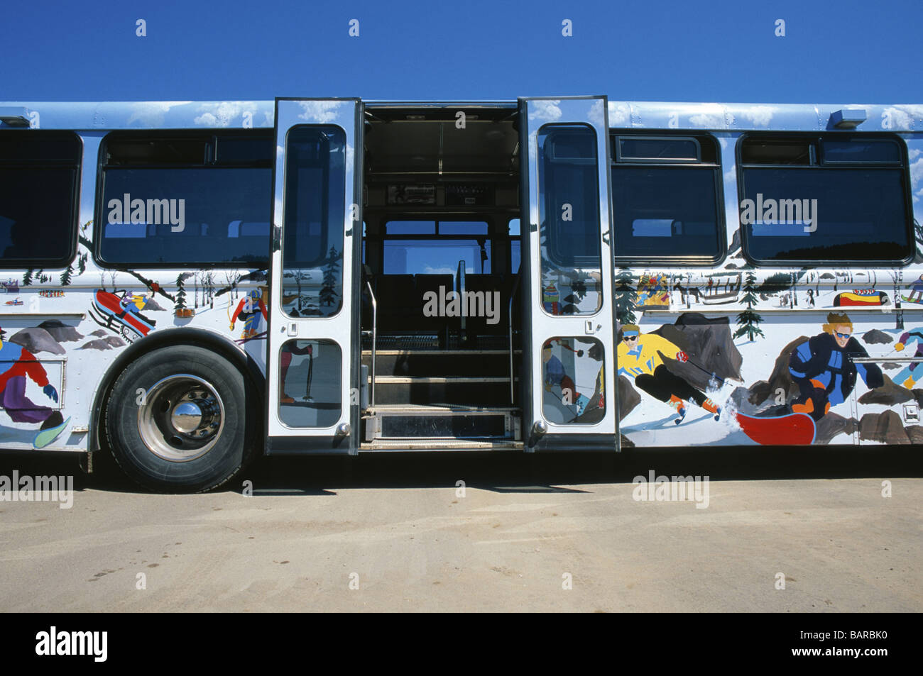 transit bus painted with images of snow sports in steamboat springs stock photo alamy alamy