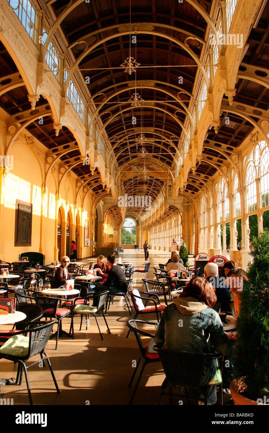 Cafe inside main Colonnade of Marianske Lazne-Marienbad,Czechia - Stock Image